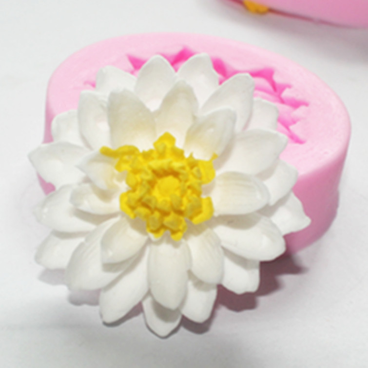 Free Shipping Silicone Lotus Flower Cake Chocolate Soap Pudding