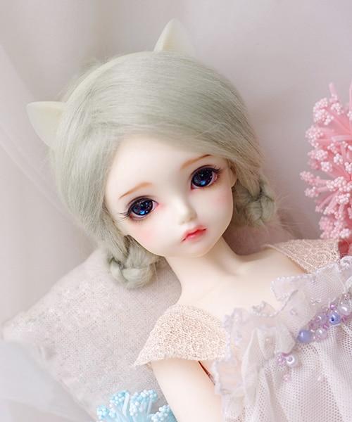 BJD Doll Fur Wig for 1/3 1/4 1/6 BJD doll rime green long straight wigs 9-10cm 12cm 14cm 16-17cm 18-19cm 20-21cm 22-23cm