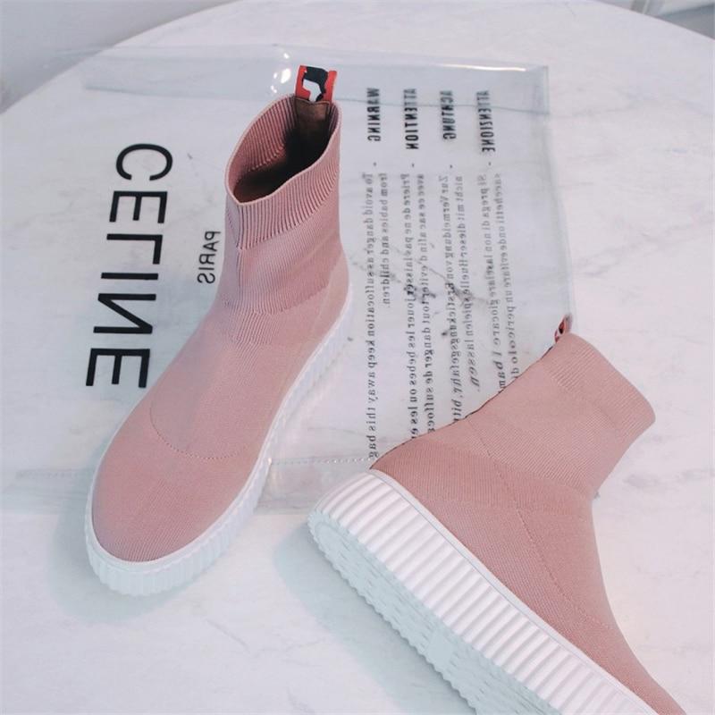 Bottes Noir Msstor Rond rose Concis Mixte Mode Plate Chaussures Pour Cheville Tricoter Dames Couleurs gris L'hiver Casual À forme Coins Noirs Bout KclF31JT