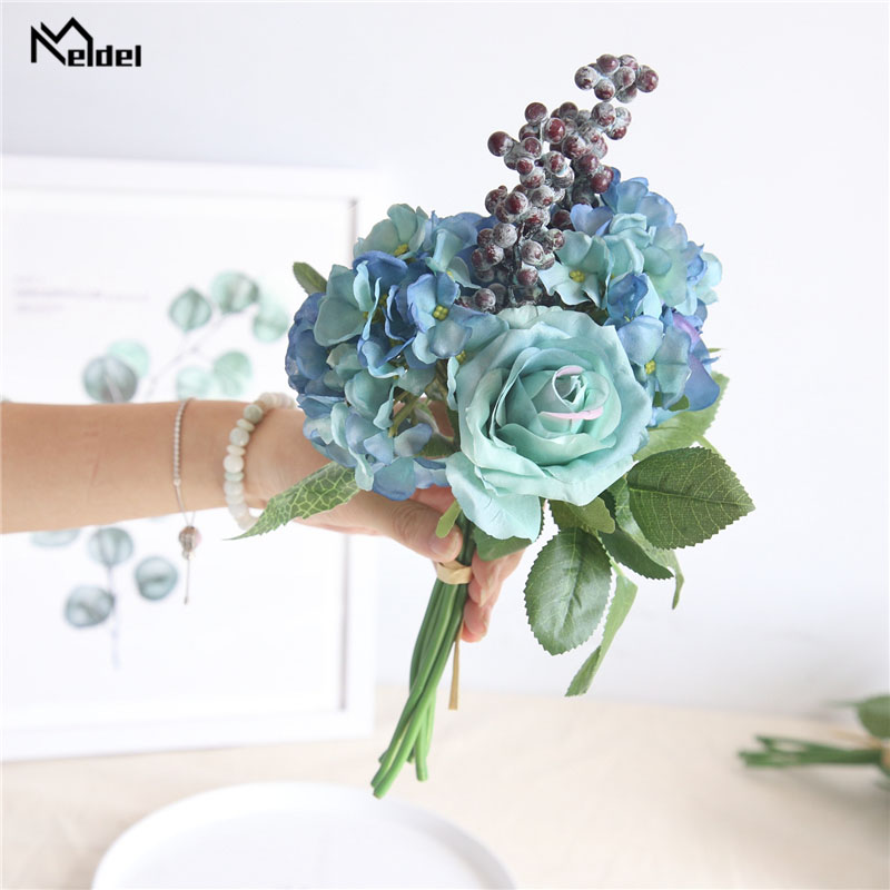 Meldel Wedding Bouquet Bridal Bridesmaids Bouquet Blue Rose Hydrangea Berries Artificial Silk Flower Home Decor Wedding Supplies