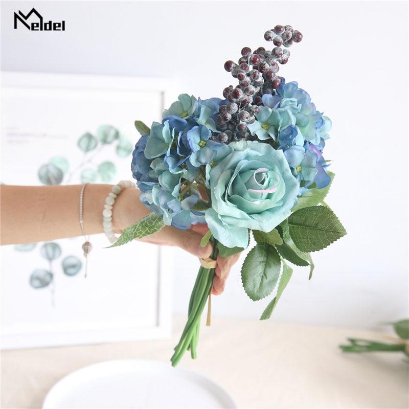 Meldel Wedding Bouquet Bridal Bridesmaids Bouquet Blue Rose Hydrangea Berries Artificial Silk Flower Home Decor Wedding Supplies