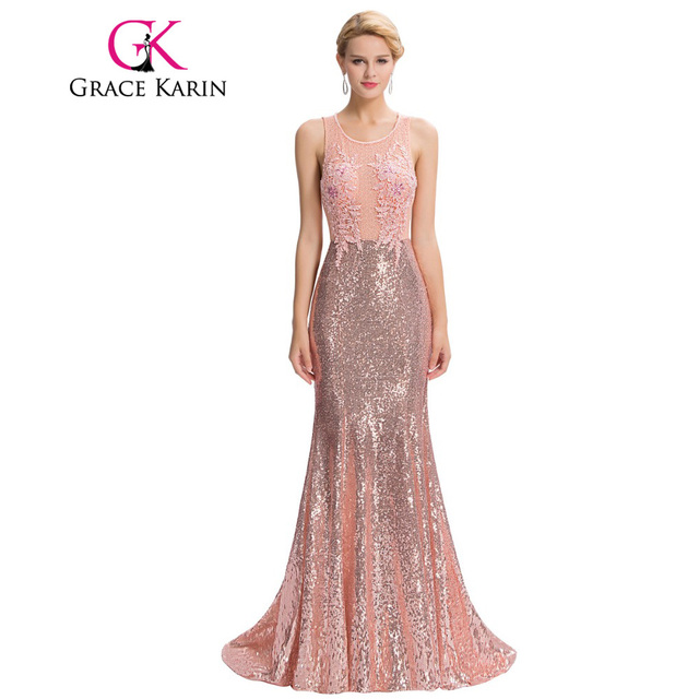 57149e1bed Grace Karin Luxury Mermaid Evening Dress Floor Length Backless Elegant Pink  Long Evening Gowns Sequin Lace