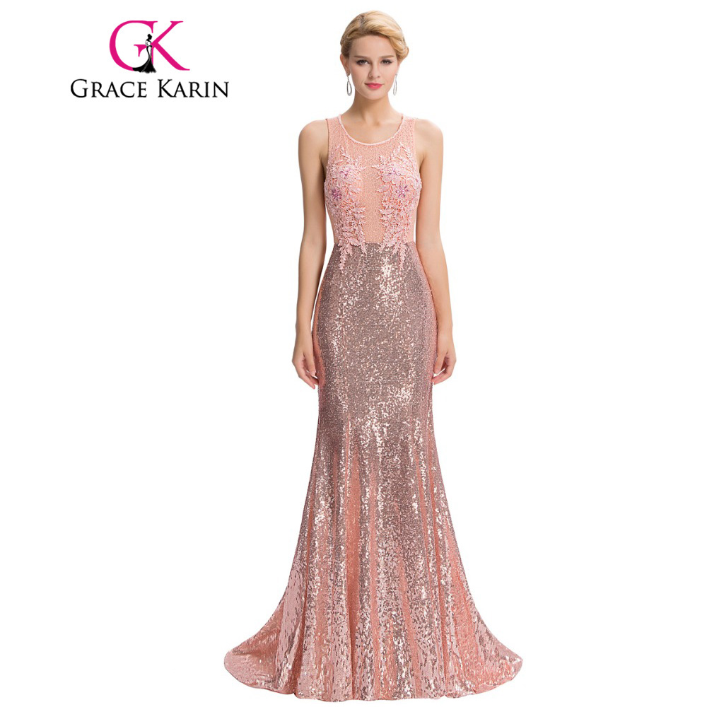Buy Cheap Grace Karin Luxury Mermaid Evening Dress Floor Length Backless Elegant Pink Long Evening Gowns Sequin Lace Robe De Soiree 2017