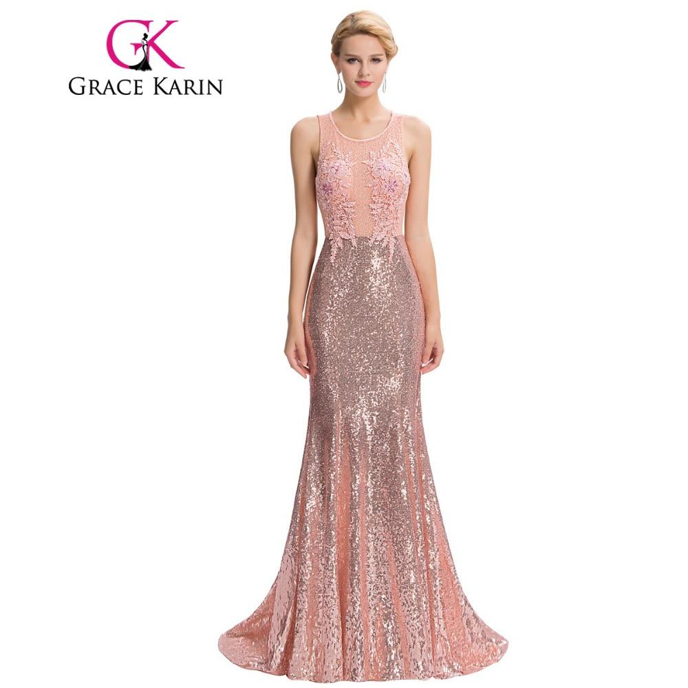 Buy Cheap Grace Karin Luxury Mermaid Evening Dress Floor Length Backless Elegant Pink Long Evening Gowns Sequin Lace Robe De Soiree 2017