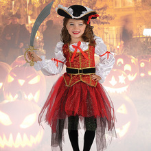2017 New Halloween Christmas Gift Pirate Costumes Girls Party Cosplay Costume for Children Kids Clothes Performance Kindergarten