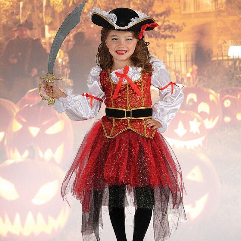 2018 neue Halloween Weihnachtsgeschenk Pirate Kostüme Mädchen Partei Cosplay Kostüm für Kinder Kinder Kleidung Leistung Kindergarten