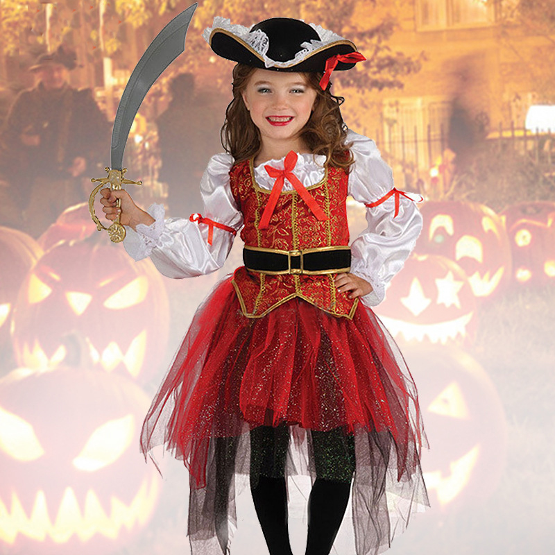 New Halloween Christmas Gift Pirate Costumes Girls Party Cosplay Costume For Children Kids Clothes Performance Kindergarten