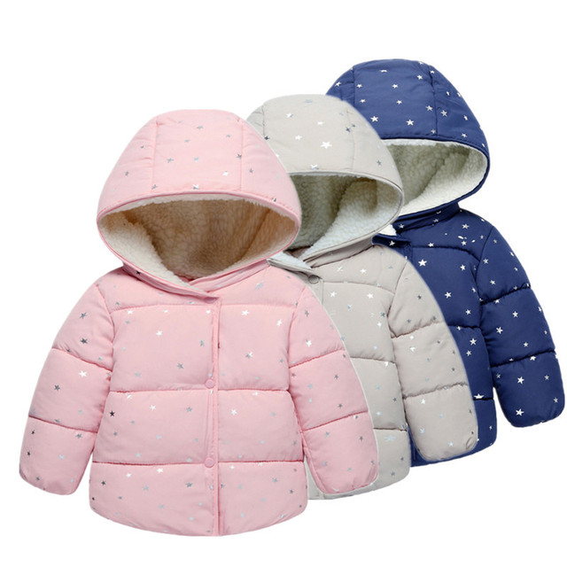 4e3235d99 Heart Printed Hooded Baby Girls Coat New Autumn Winter Kids Warm ...