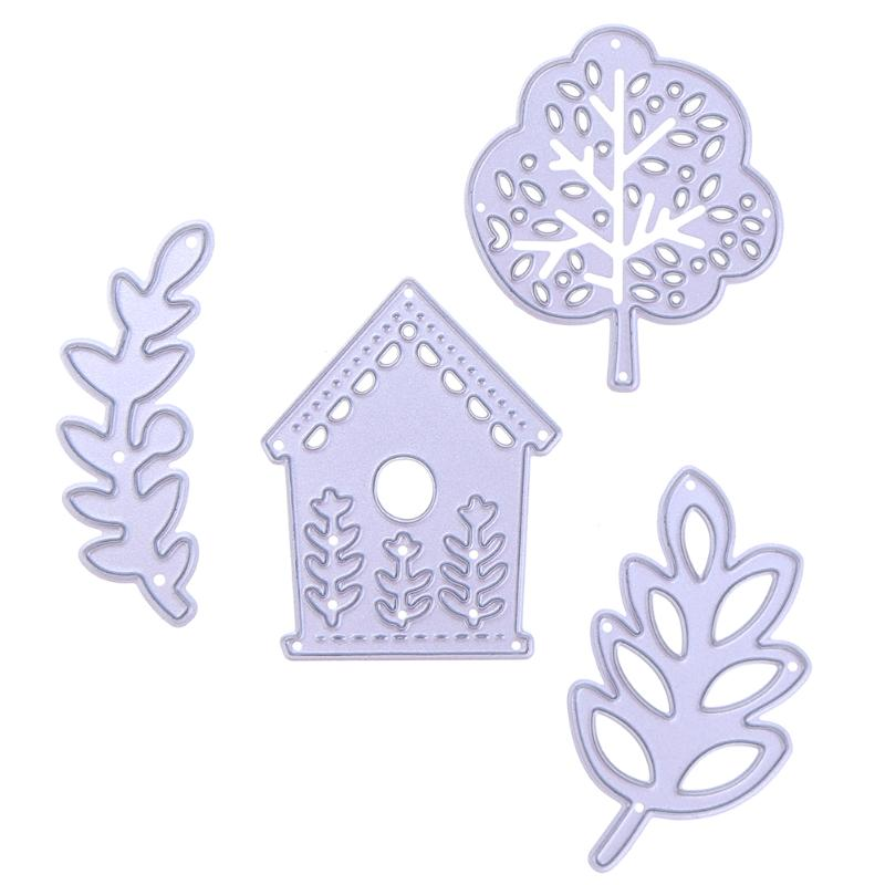 4pcs Tree House Metal Cutting Dies Stencil for Scrapbooking Decorating Craft Album Paper Cards Making Dies Handicraft Tools