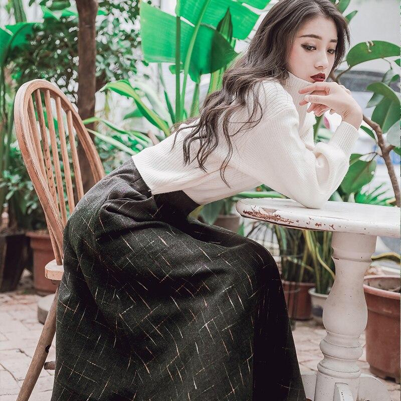 Pour En Hiver Vintage Laine Pull Chemisier Jupe Manches Femme Robe Féminin pièce Yosimi 2018 Femmes Deux Costume Complet Ensemble Automne TEwxaISq