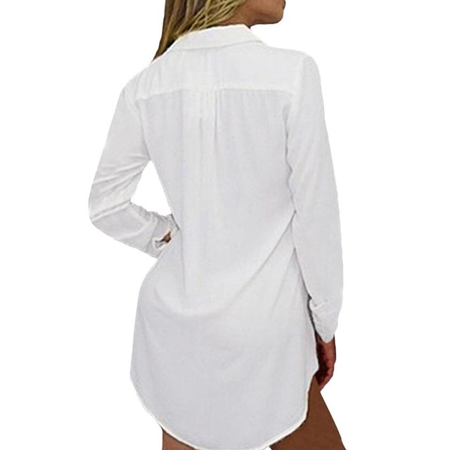 V Neck Long Sleeve Vintage Ladies Office Shirt