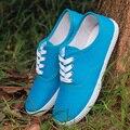 Конфеты цвет zapatos mujer плюс размер холст обувь повседневная женская обувь женская обувь на шнуровке любителей плоские туфли женщина квартиры 40 41 42