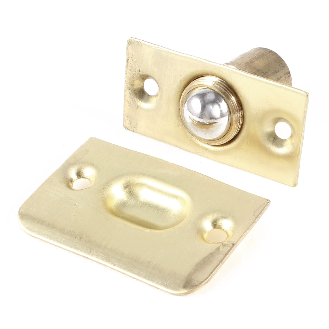 French Doors Fitting brass Ball Catch w Strike Plate Gold Tone