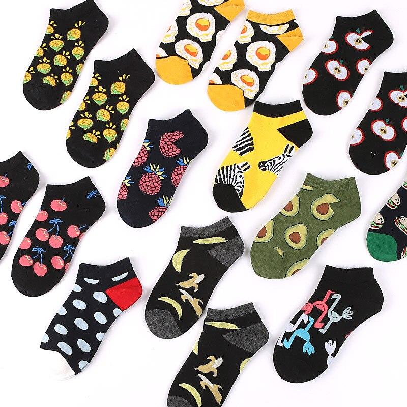Avocado Socks Omelette Burger Sushi Apple Plant Fruit Food Short Funny Cotton Socks Women Summer Men Unisex Happy Socks Female