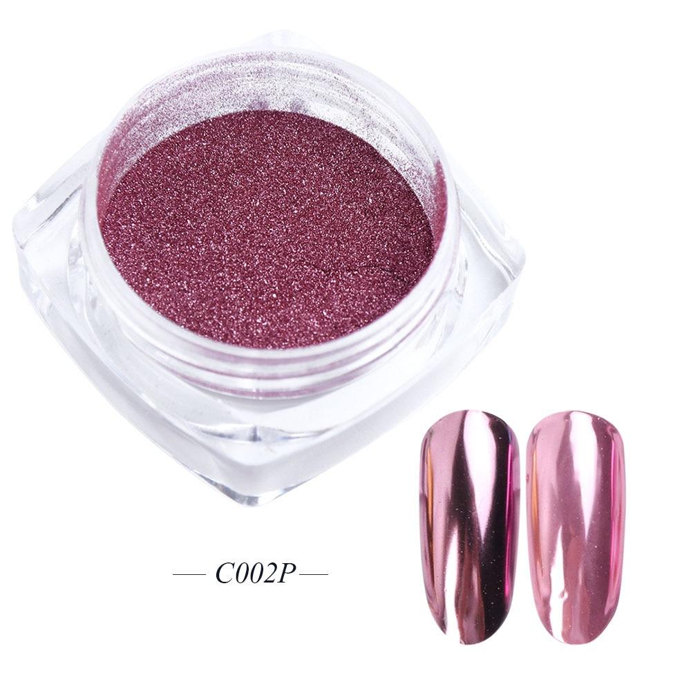 Зеркальный лак для ногтей, порошковая голографическая металлическая розовые, золотые, серебряные пылезащитные блестки, УФ-гель для ногтей, хромированное пигментное украшение CHC/ASX - Цвет: C002P