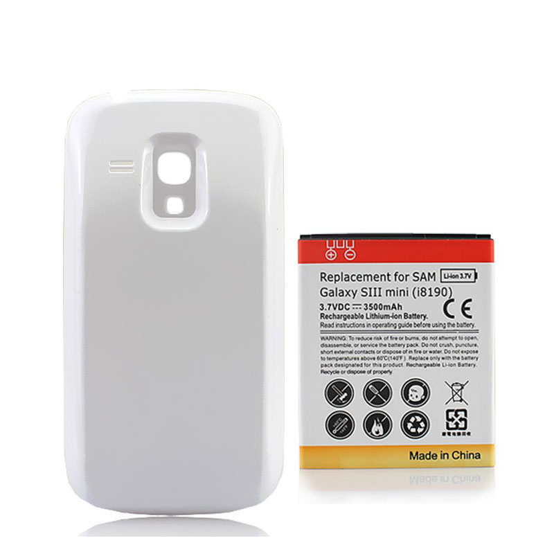1pc Extended 3500mAh Phone Battery For Samsung Galaxy SIII S3 Mini i8190 batery bateria with White Back Cover