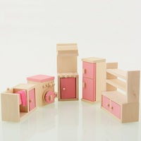Wooden Doll Kitchen House Furniture Kids Play Toy Design Wooden Dollhouse Miniature Toy Children Gifts For