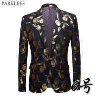 Gold Foil Printed Blazer Men Floral Casual Slim Fit Dress Blazers 2018 Luxury Brand Single Breasted One Button Stage Suit Jacket