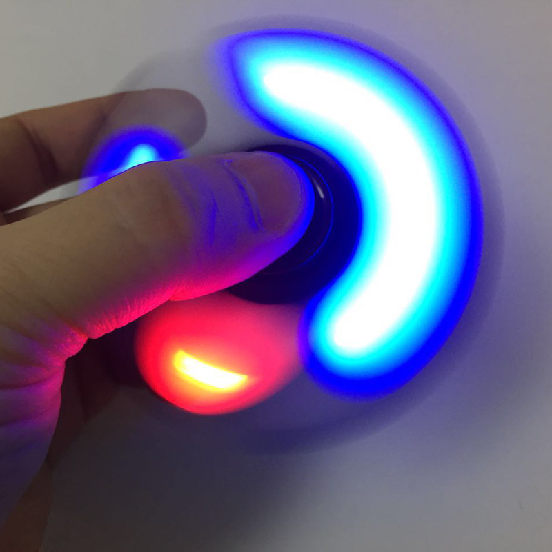LED Light Hand Finger Spinner Fidget Plastic EDC Hand Spinner For Autism and ADHD Relief Focus Anxiety Stress Toys Gift 4 colors