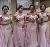 Длинные с открытыми плечами подружкам невесты лето 2019 г. Страна сад пригласительные на свадьбу Maid of Honor платья большого размера индивидуаль