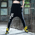Olrain New Womens Hip Hop Pants Harem Dance Slacks Sweat Alphabet Trousers Black