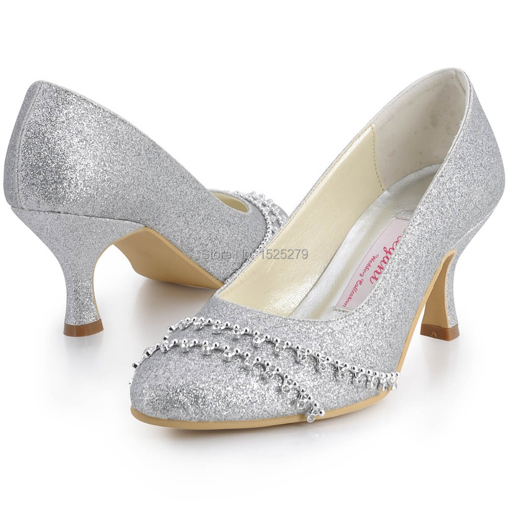 Custom Made B129A Silver Women Bridal Round Toe Evening