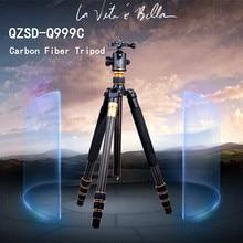 On sale QZSD Q999C Carbon Fiber Tripod  Pro Tripod Monopod Changeabel For SLR Camera Tripod  Ball Head  Free Shipping By DHL