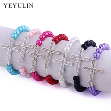 Trendy Plastic Beads With Rhinestone Crystal Silver Color Alloy Cross Bracelet For Women Bangles Jewelry цена 2017
