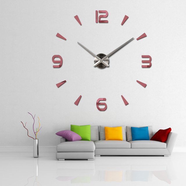 2016 new wall clock quartz living room diy clocks modern design watch horloge murale Acrylic mirror 3d stickers free shipping