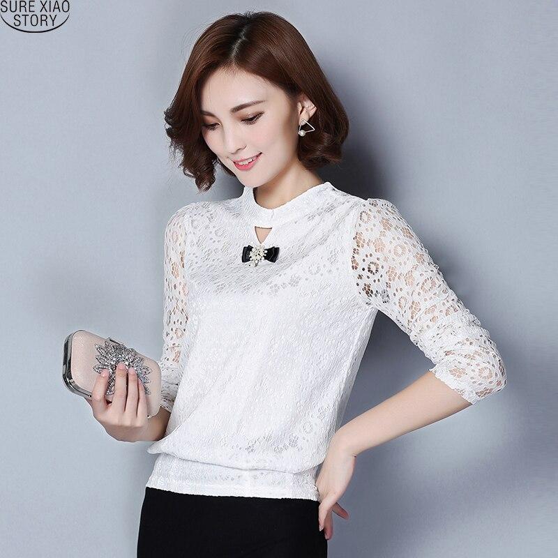 2017 New Fashion musim semi padat Renda Wanita Blus Berdiri Kerah ditambah  Ukuran Lengan Panjang kasual Bottoming Kemeja top 511C 25 ebe740d771