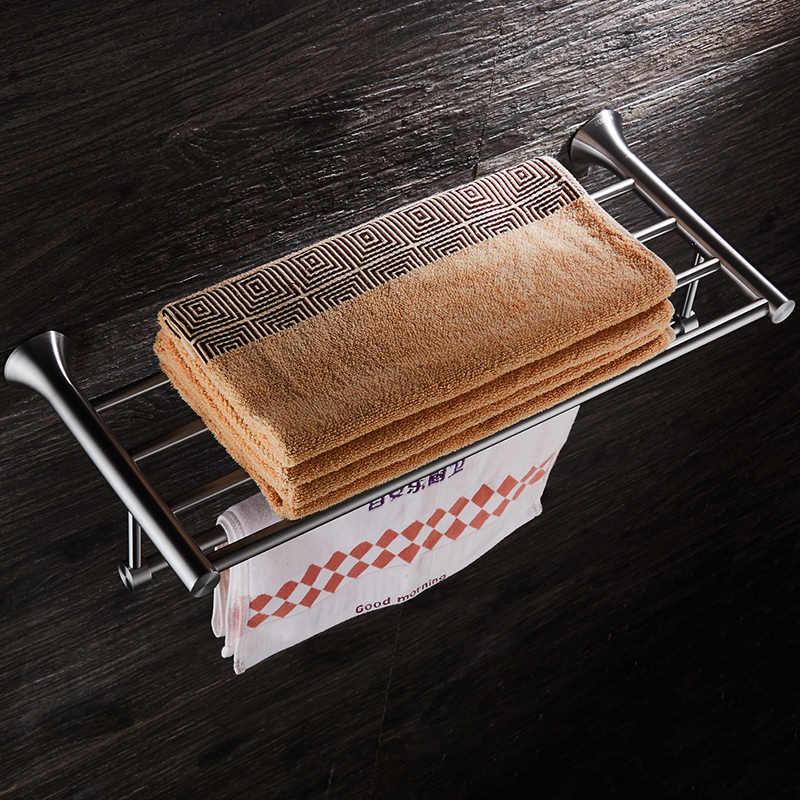 Łazienka wieszak na ręczniki stojak ze stali nierdzewnej szczotkowana do montażu na ścianie uchwyt na ręczniki półka na ręczniki acessórios