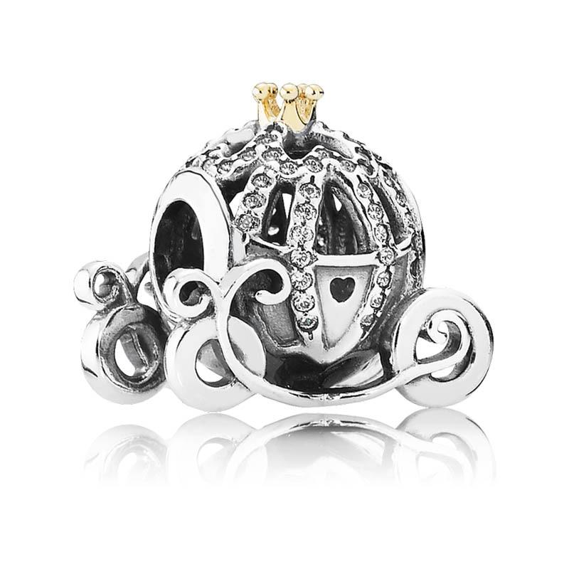 Authentic S925 Sterling Silver DIY Jewelry Cinderellas Pumpkin Charms fit Pandora Bracelet Bangle Pave CrystalsAuthentic S925 Sterling Silver DIY Jewelry Cinderellas Pumpkin Charms fit Pandora Bracelet Bangle Pave Crystals