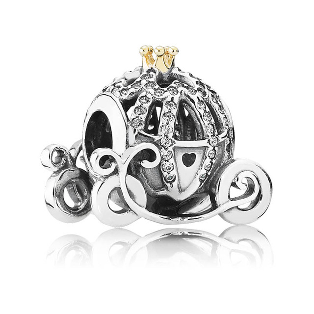 Authentic S925 Sterling Silver DIY Jewelry Cinderella's Pumpkin Charms fit Pandora Bracelet Bangle Pave Crystals