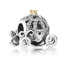 Authentic S925 Sterling Silver DIY Jewelry Cinderella's Pumpkin Charms fit Pandora Bracelet Bangle Pave Crystals(China)