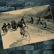 Uno de los ciclos de competición Tour de Francia bicicleta carrera pegatinas de pared clásicas lienzo Vintage Poster hogar Bar decoración regalo