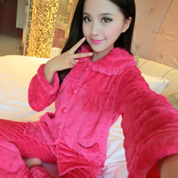 Pajamas Women Fleece Thicken Sweat A09 Autumn Winter Casual Women Long Sleeve Pajamas Cotton