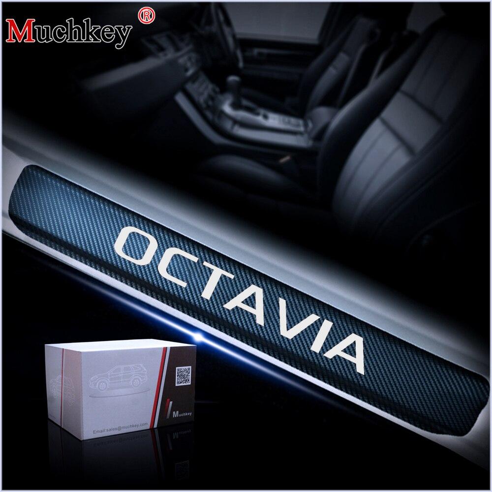 Pour Skoda Octavia A5 A7 2007 À 2014 Porte Seuil Plaque De Porte de Voiture Seuil Étape Plaque 4D En Fiber De Carbone Vinyle autocollant De Voiture-Style