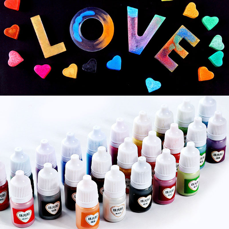 10ML Resin Drop Adhesive Pearlescent Powder UV Coloring Resin Pigment Resin Coloring DIY Handicraft Art Suite 25 Colors BFJ55
