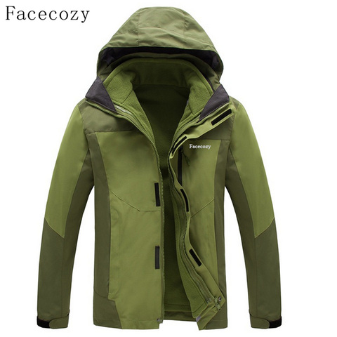 Facecozy Men Winter Outdoor Thick Fishing Softshell Jackets Breathable 2 Pieces Windproof Camping Coat Islamabad