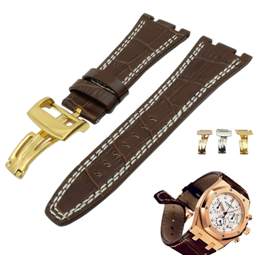 For Audemars 100% New 28 mm Genuine Leather handmade watch band Strap + Silver Clasp For AP + Tools