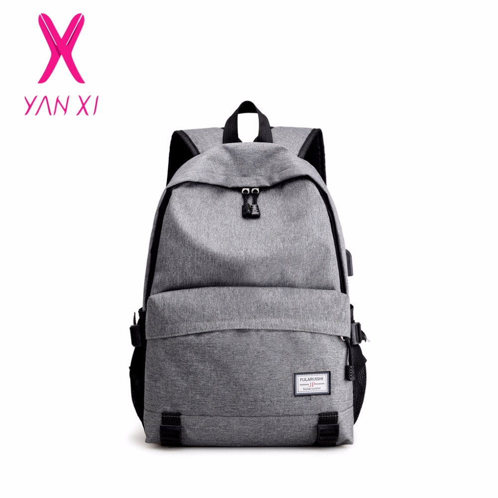 YANXI 2017 New City Backpack Men's USB Charge Laptop Backpack Simple fashion anti-theft Mochila backpack waterproof travel bags цена