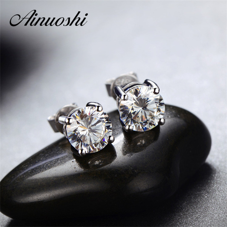 3-8mm New Classic Round Cut SONA Simulated Diamond Earring 925 Sterling Silver Stud Earrings Wedding Jewelry Earrings Women