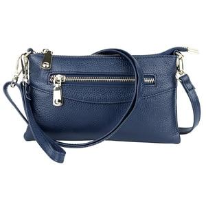 Image 4 - Zipper luxo Azul/Vermelho/Preto/Cinza Mulheres Embreagem Bolsas Mensageiro Genuínos das Mulheres de Couro bolsa de Ombro Bolsa de Moda pequenos Sacos