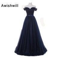 Elegant Evening Dress Off Shoulder Banquet Pageant Dress Sleeveless Navy Blue Tulle Simple Long Prom Dresses