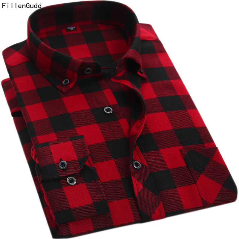 FillenGudd Kvaliteta Proljeće Jesen Crveno i crno Kariran muški Košulje Okrenite ovratnik Casual Dugi rukav Jeftini Kina Brand-Odjeća  t