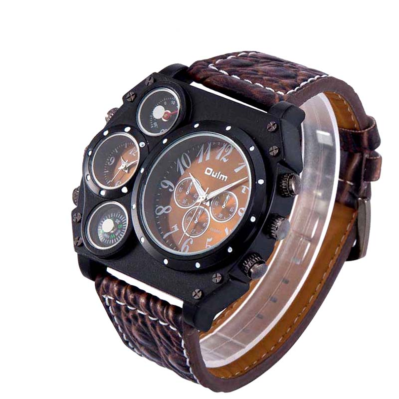 Oulm Brand Men Watches Multiple Time Zone Quartz Watches Unique Designer Brand Male Sports Watch  Male Clock relogio masculino top brand luxury oulm 2 time zone men watches military sports quartz watch 2017 men rose golden case relogio masculino box