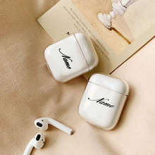 For airpod case custom name and pattern Clear Transparent Hard Plastic Cute Case Air Pods DIY Customized Letters And