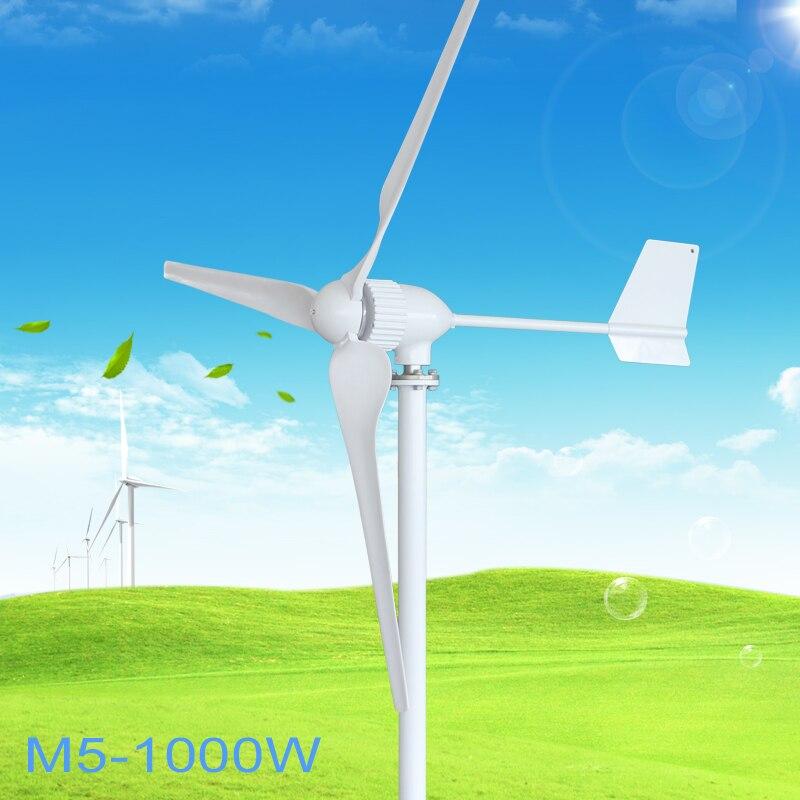 1000 w Éolienne Générateur 24 v 48 v 2.5 m/s Vitesse de Vent Faible Début 3 lame 1150mm, avec IP 67 contrôleur de charge