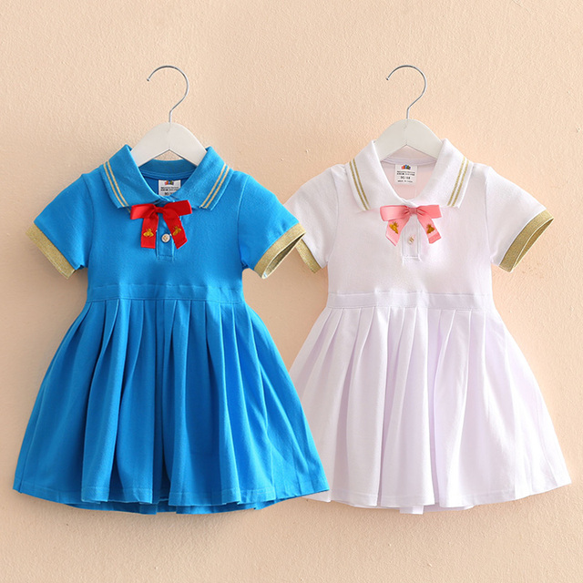 Baby Girl School Style Dress 2018 Summer Girls Lapel Pleated Short