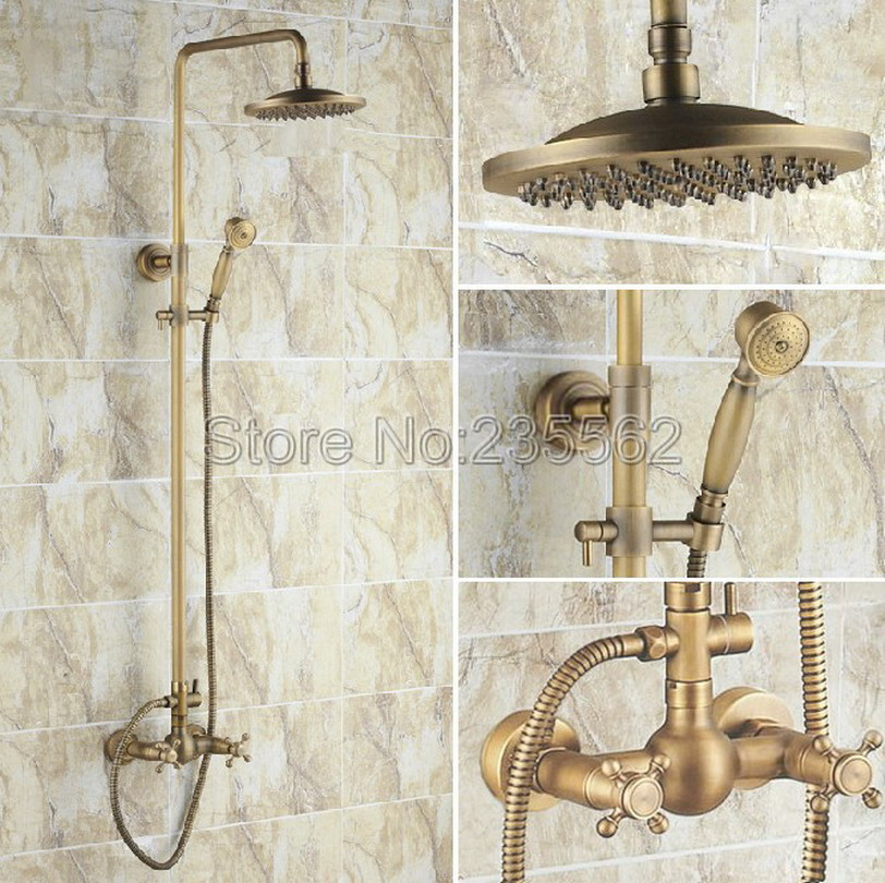 Retro Rain Shower Faucet Set 8 inch Shower Head + Handheld Shower Antique Brass Finish Wall Mount Bathroom Shower Faucet lrs008 wholesale and retail modern chrome finish 8 inch shower faucet set rain shower head w hand shower wall mount